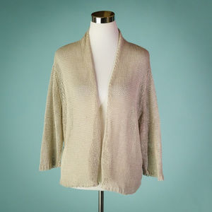 Eileen Fisher XL Linen Open Front Cardigan Sweater